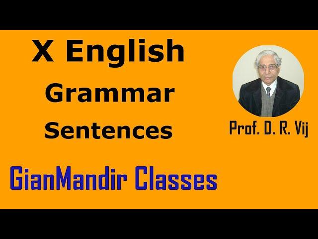 X English | Grammar | Sentences by Nandini Ma'am