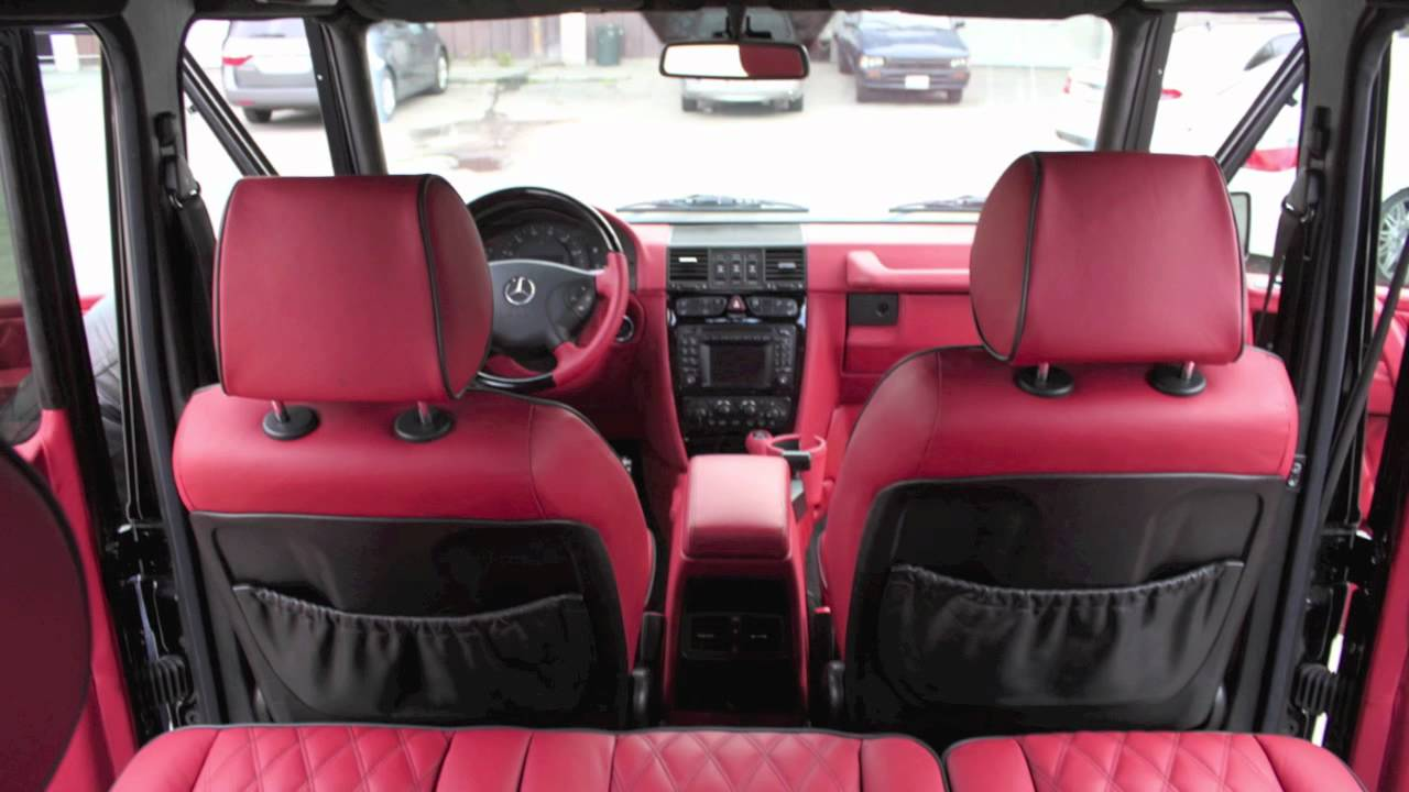 White Mercedes G Wagon >> G-Class Custom Red Interior by BlackStar Upholstery - YouTube