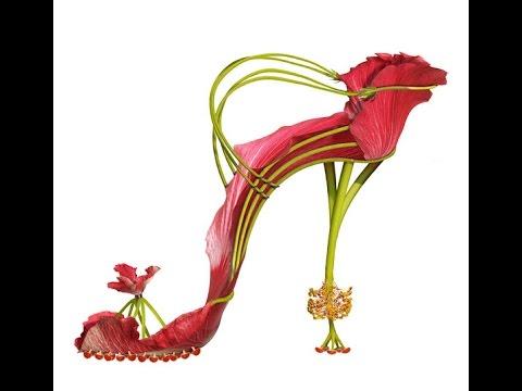 Необычные туфли - туфли из цветов. Обувная коллекция туфель, сделанная из цветов