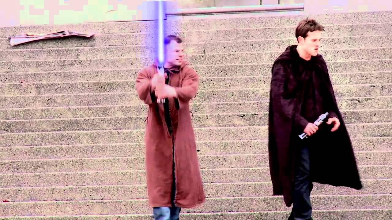 Candid Camera Star Wars : Star wars lightsaber duel on robson hidden camera jedis youtube