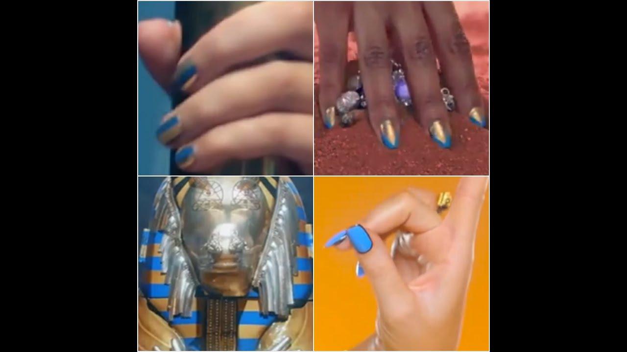 katy perry dark horse inspired egyptian nailart(blue theme) - YouTube