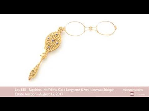 Sapphire, 14k Yellow Gold Lorgnette and Art Nouveau Stickpin at Michaan&39;s Auctions