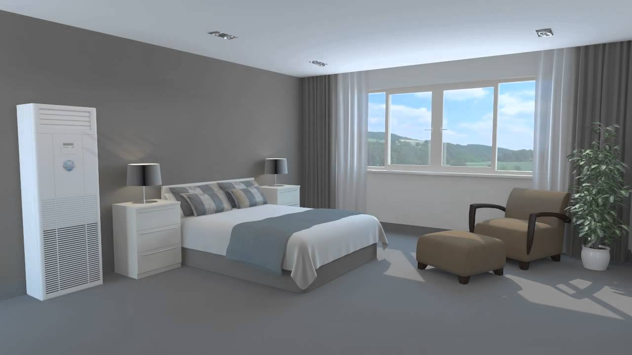 Floor mounted air conditioner in a bedroom 3d animation youtube - Bedroom air conditioner ...