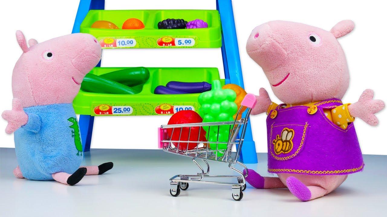 Vamos fazer compras na lojinha da Peppa Pig e George! Histórias para crianças com brinquedos