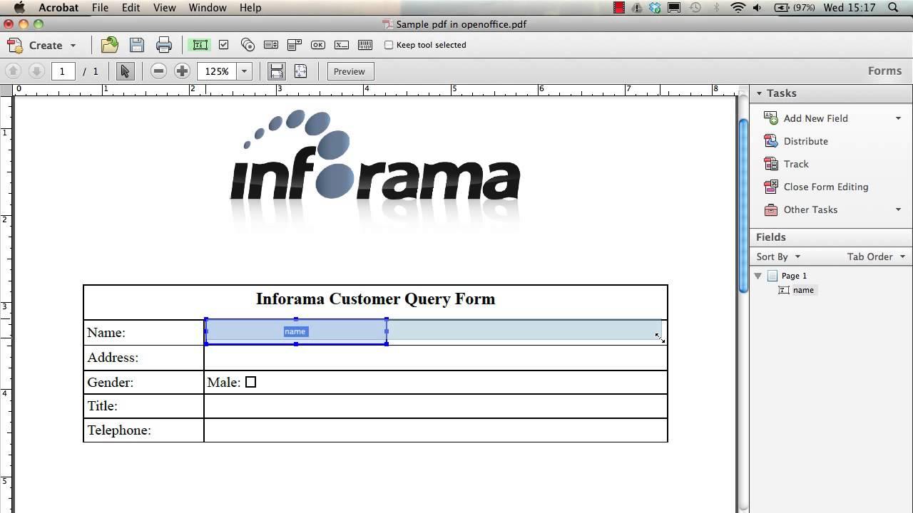 Adding form fields to a pdf using Adobe Acrobat Pro - YouTube