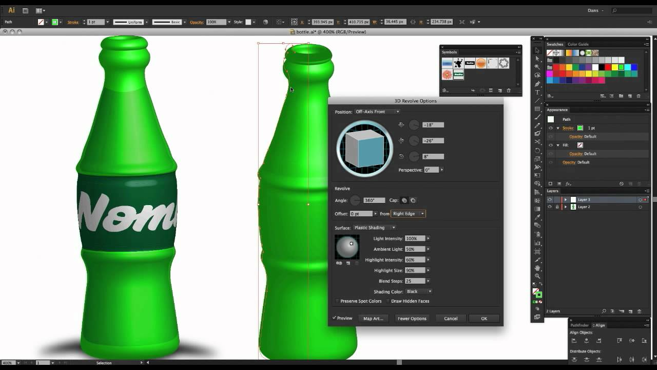 Adobe Illustrator 3d Objects Mapping Label To Bottle Youtube