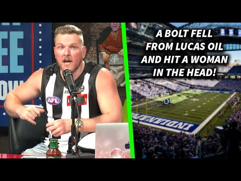 Pat McAfee On The Time A Bolt Fell From Lucas Oil's Roof And Hit A Woman In The Crowd