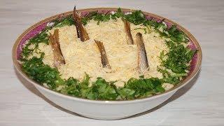 """Простой но вкусный салат из шпрот """"РЫБКИ В ПРУДУ""""попробуйте приготовить,вам точно понравится)"""