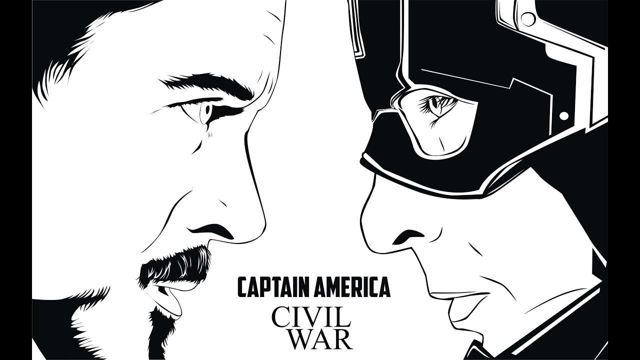 How To Make A Captain America Civil War Poster Line Art Syle  Part 1