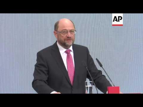 Schulz' first briefing as Social Democrat leader