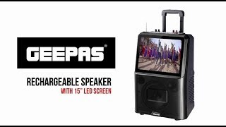 """Geepas Rechargeable Speaker w/ 15"""" LED Screen #MyChoiceMyPrice"""