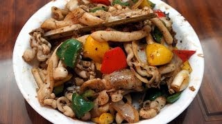 Chinese Recipe : Stir-fried Razor Clams with Black Bean Sauce