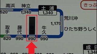 新しい新橋駅北改札口の券売機上にある路線図に貼られた常磐線佐貫駅を覆ったシール