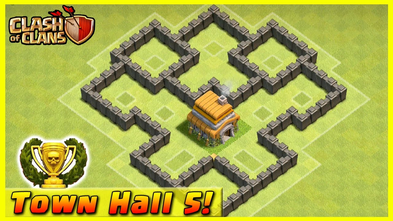 Coc best th5 trophy base 2016 youtube