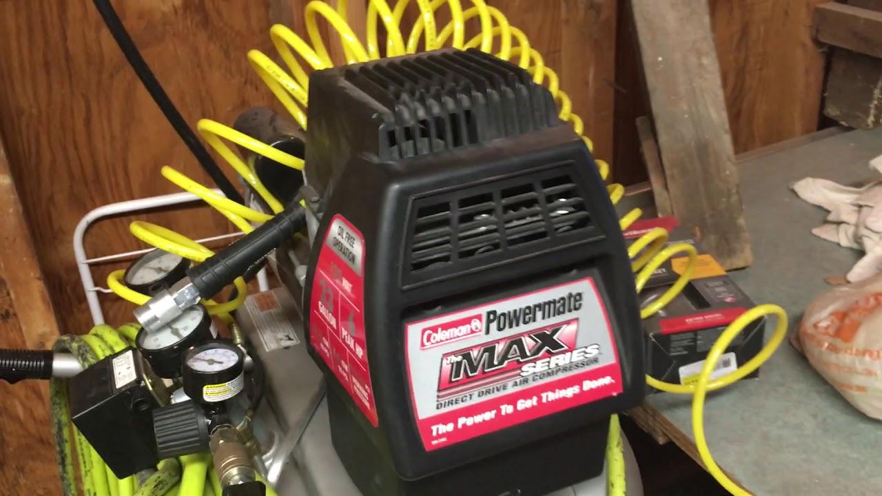 coleman powermate 6 hp air compressor review!!