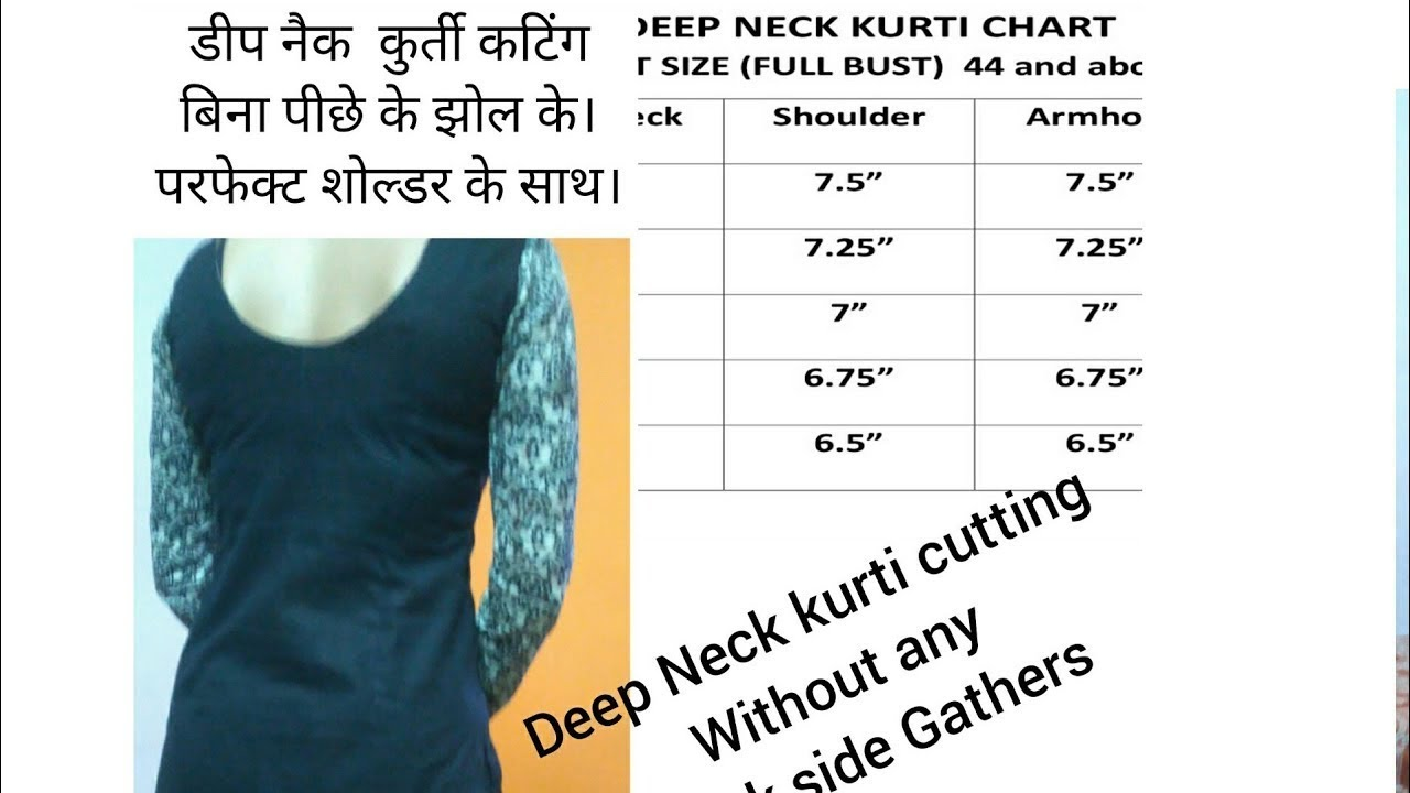 Deep Back neck Kurti Cutting without any back wrinkles