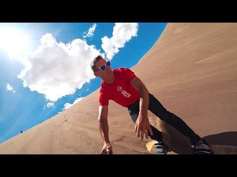 Sandboarding at Great Sand Dunes National Park