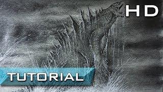 How to Draw Realistic Godzilla 2014 with Pencil Step by Step - Speed Drawing Godzilla 2014- Tutorial