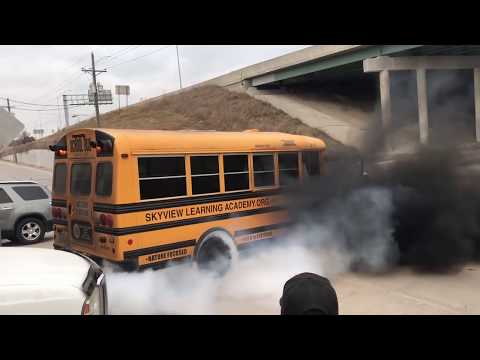 First burnout in the #racebus school bus!