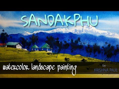 #watercolor #landscape #hillscape #sandakphu watercolor landscape painting demo,by-KRISHNA PAUL
