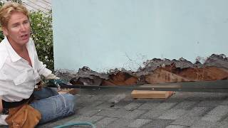 Roof to Wall metal flashing for stucco Repairs,  Magical Whiskers