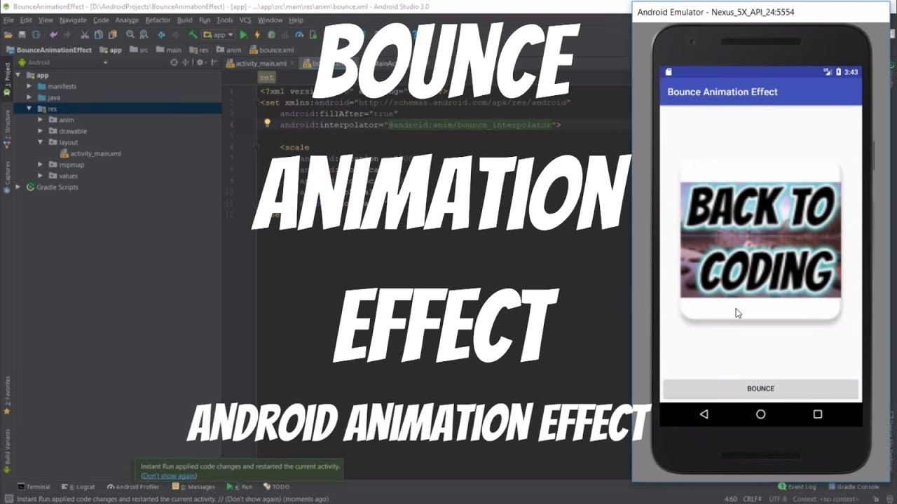 Android Animations Tutorial 52 - Bounce Animation Effect