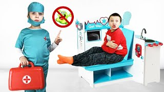 Даша и папа - история о том как важно мыть руки / История про микробы / Дарья как доктор