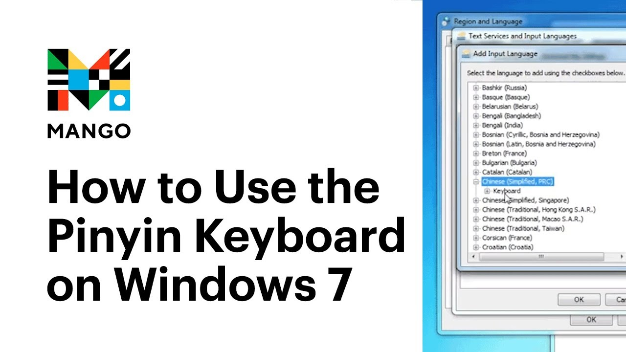 How to Use the Pinyin Keyboard on Windows 7 - Typing in Chinese