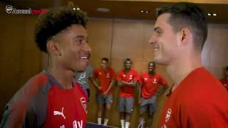 Granit Xhaka vs Reiss Nelson in the table tennis final - who wins? | Arsenal Tour 2017