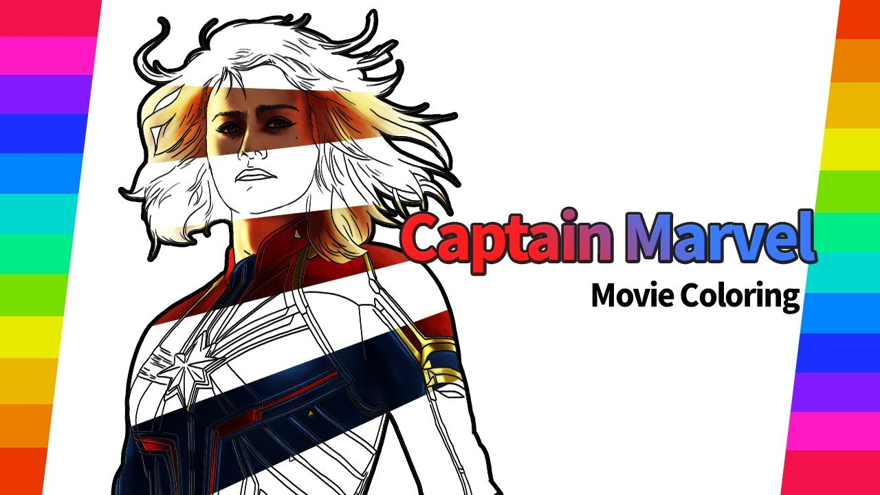 Marvel Movie Coloring Pages Captain Marvel Movie Drawing And Coloring Pages Avengers Coloring Youtube