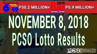 PCSO Lotto Results Today November 8, 2018 (6/49, 6/42, 6D, Swertres, STL & EZ2)