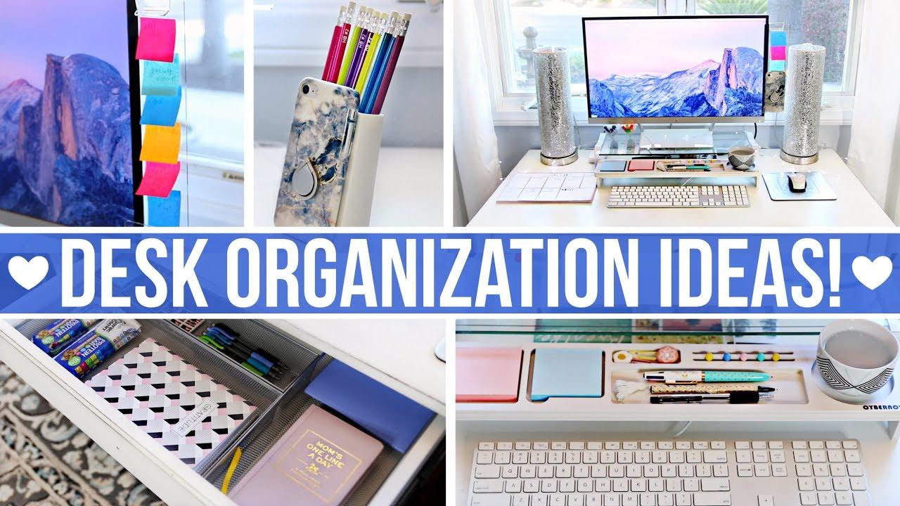 DESK & OFFICE ORGANIZATION IDEAS! - YouTube