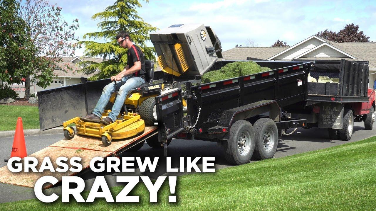 Grass Grew Like Crazy! Walker Mower & Dump Trailer Working Together
