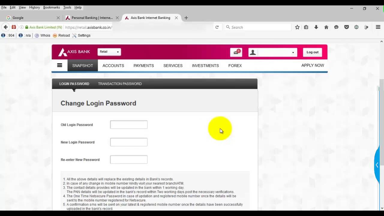 axis bank communication address change online