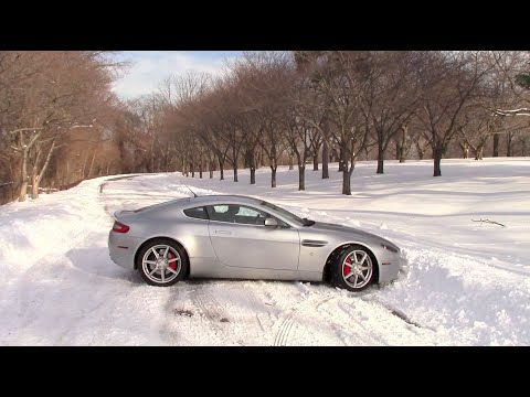 Driving an Aston Martin in the Snow