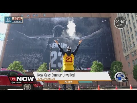 LeBron Banner Unveiled In Downtown Cleveland