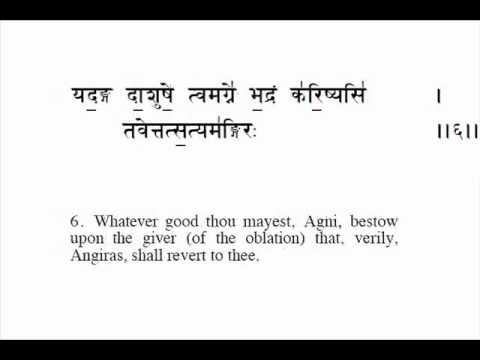 Rigveda Chanting - Deity Agni - The First Sukta in Devanagari with English translation