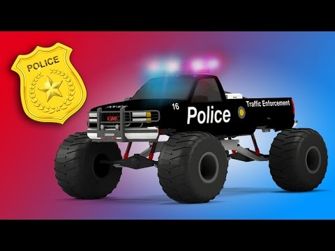 Police Monster Truck | 3D Video for Kids | Educational Video for Children | Rescue City Heroes