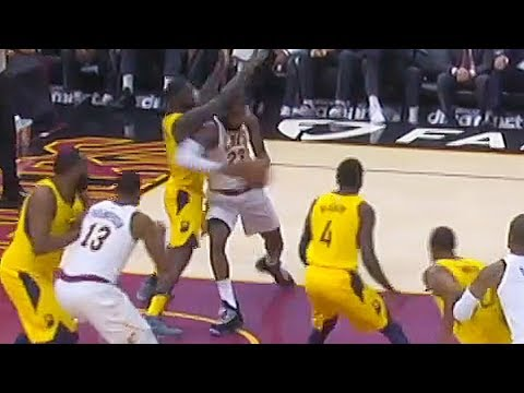 LeBron James Hits Lance Stephenson with Elbow But Lance Stephenson Gets Called for the Foul!