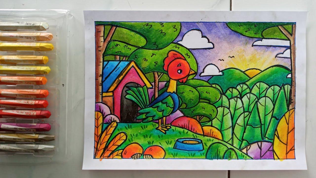 mewarnai gambar ayam dengan crayon belajar mewarnai anak
