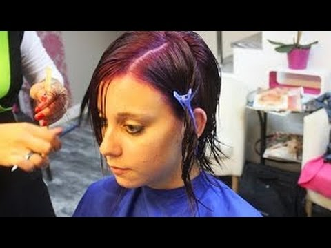 short pixie hairtrend undercut extreme haircut makeover & dying purple by Alves & Bechthol