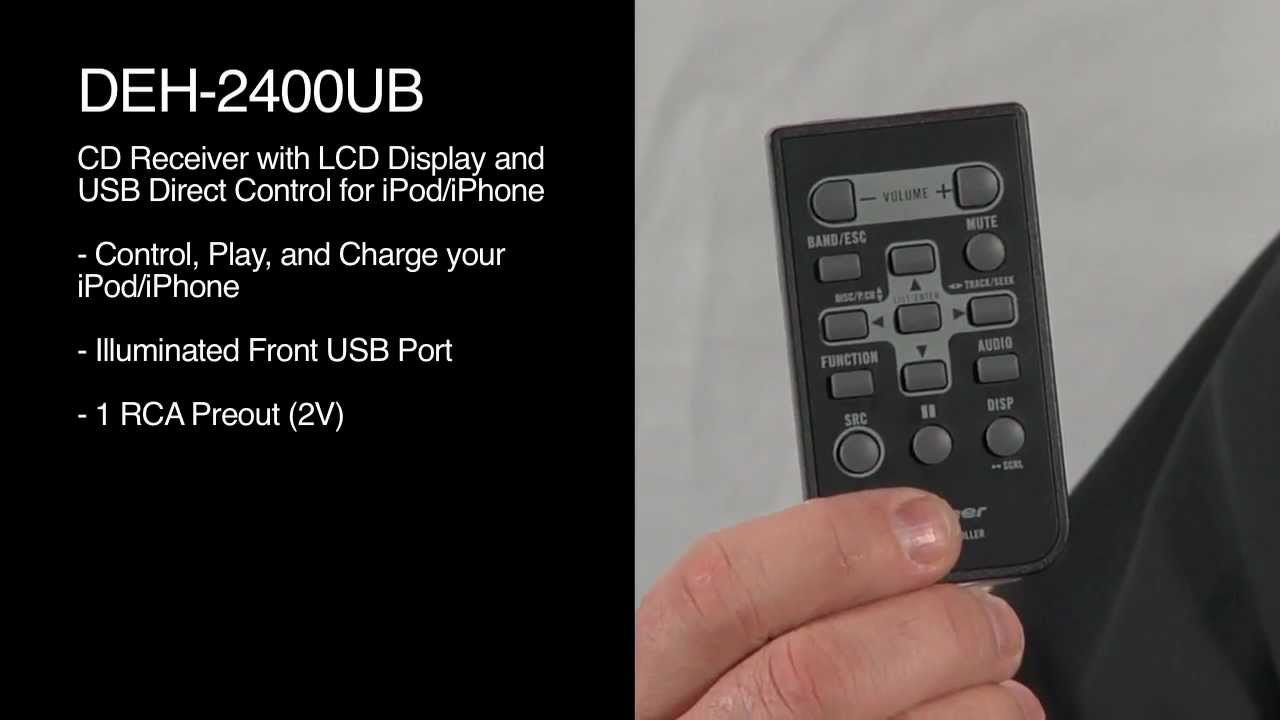 deh 2400ub cd receiver with lcd display and usb direct control for ipod iphone pioneer electronics usa [ 1280 x 720 Pixel ]