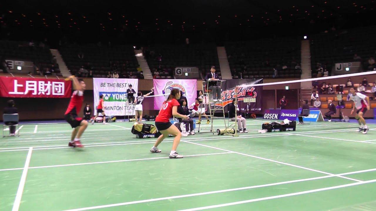 Badminton 早川,松友 vs 小松﨑,新玉 XD 準々決勝 2G バドミントン全日本総合 2013.12 ...