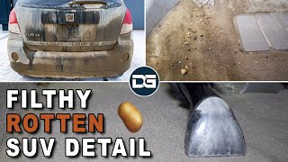 Deep Cleaning a ROTTEN and Smelly SUV | Nasty Carpet Cleaning and Satisfying Car Detailing!