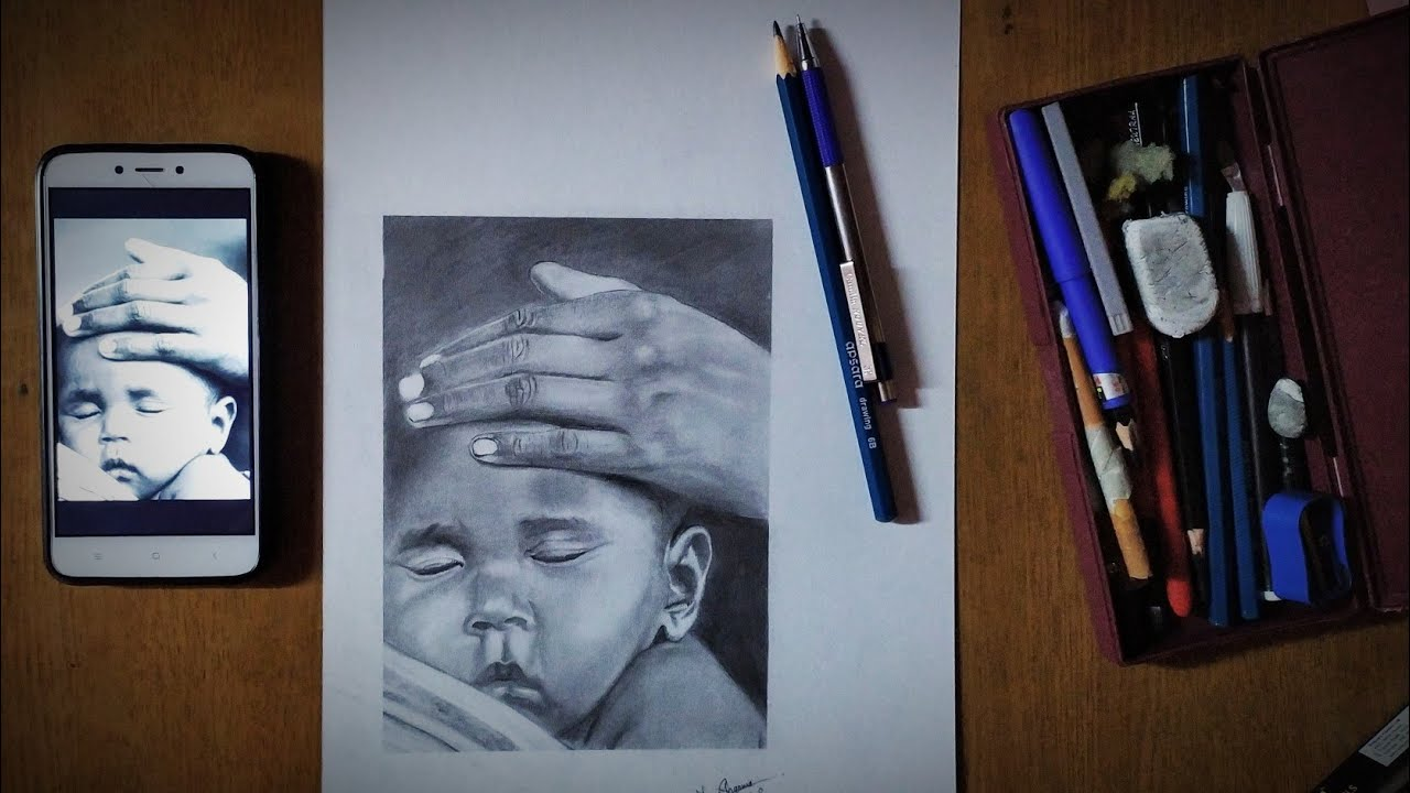 Time lapse video of sketching | child sketch | #Momslove | pencil sketch