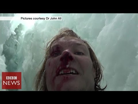 Climber films 20m crevasse fall in Himalayas - BBC News