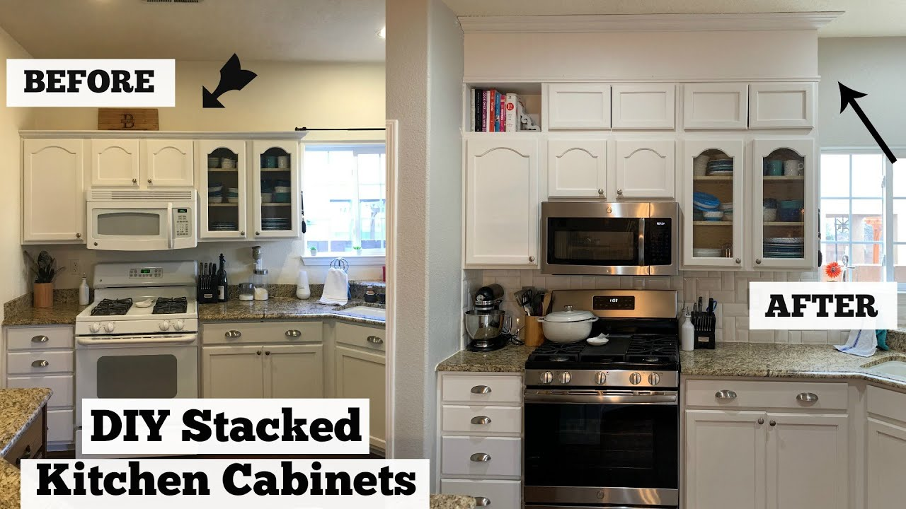 DIY Stacked Cabinets// Extending Kitchen Cabinet trim to ...