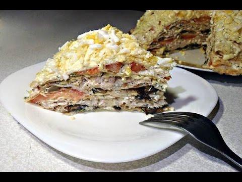 Блинный торт с курицей и грибами фото