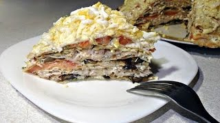 Как приготовить Блинный торт с курицей, грибами и сыром