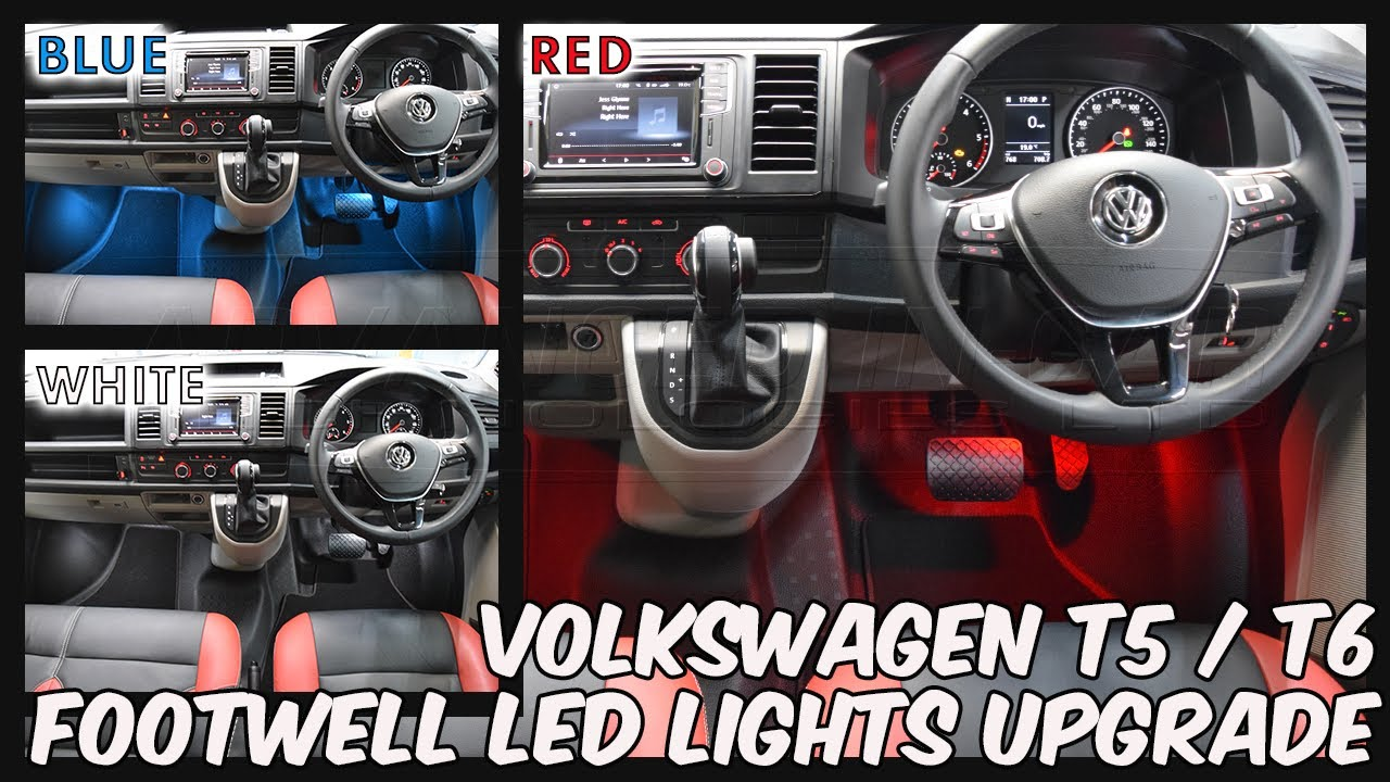 VW Transporter T5 / T5 1 / T6 Footwell LED Lights Upgrade